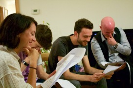 The cast having a good giggle. Left to right: Kate Oswald (Betty), Charles Scherer (Dracula), Mark Wheeler (The Invisible Man) and Mark Tindle (Dr. Jekyll & Mr. Hyde)