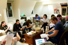 The cast, hard at work.