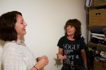 Kate Oswald (Betty) and Victoria Hogg (Dawn, Madam Byrne) between screams.