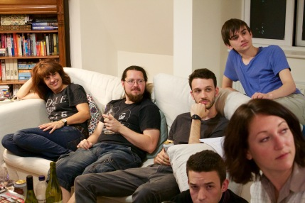 Left to right: Victoria Hogg (Dawn, Madam Byrne), Steff Prince (Hairy), Mark Wheeler (The Invisible Man), Dan Luxton (Mr. Green), Brendan Way (Writer) and Kate Oswald (Betty)