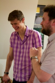 Charles Scherer (Dracula) and Arfie Mansfield (Johnny) having a good giggle between read-throughs