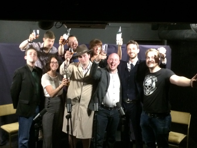 Our sterling performers Left to Right: Dan Luxton, Charles Scherer, Kate Oswald, Steff Prince, Arfie Mansfield, Victoria Hogg, Mark Tindle, Mark Wheeler, and co-producer Ed Fargher